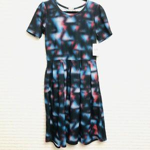 NWT LuLaRoe Amelia Womens XL Black Blue Pink Trian